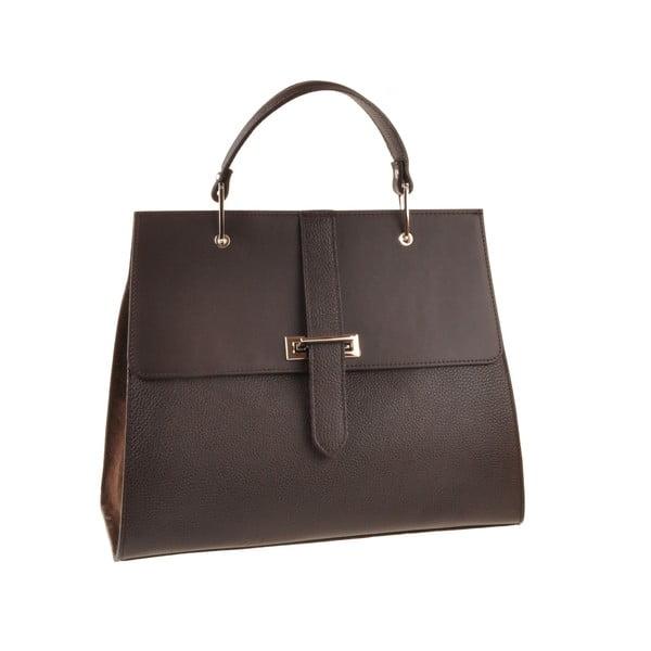 Kožená kabelka Pau, tmavo hnedá