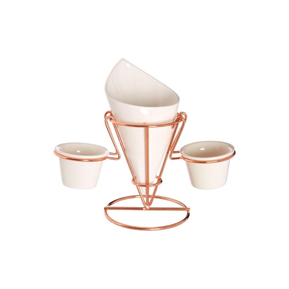 Porcelánový stojan na hranolky a omáčky v medenej farbe Premier Housowares Hollywood