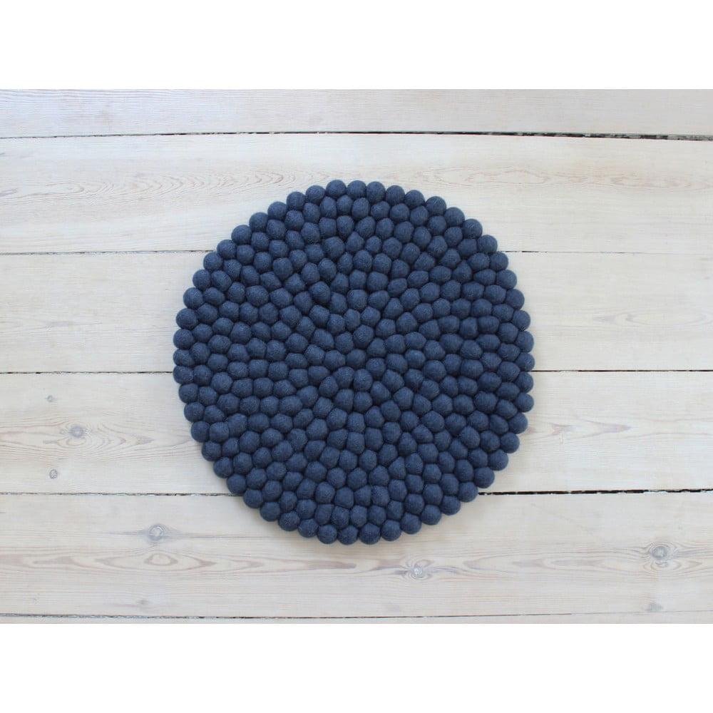 Tmavo modrý guľôčkový vlnený vankúš na sedenie Wooldot Ball Chair Pad, ⌀ 39 cm