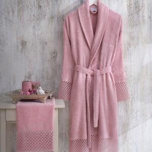 Set ružového dámského župana veľkosti L/XL a uteráku Bathrobe Set Lady