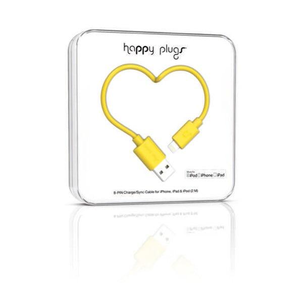 Žltý Happy Plugs nabíjací a dátový kábel, 2 metre
