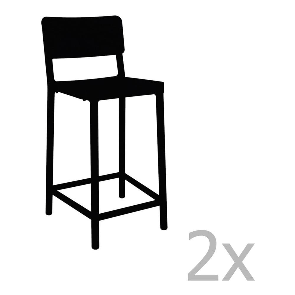 Sada 2 čiernych barových stoličiek vhodných do exteriéru Resol Lisboa Simple, výška 92,2 cm