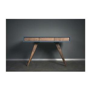 Modrý pracovný stôl z masívneho jaseňového dreva Charlie Pommier Triangle, 140×40cm