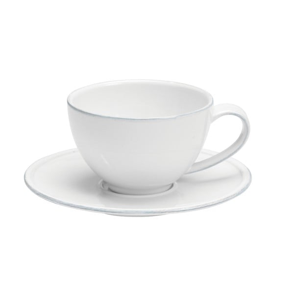 Biela kameninová šálka na čaj s tanierikom Costa Nova Friso, objem 260ml