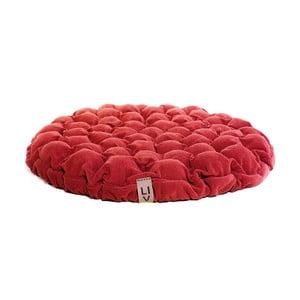 Červený sedací polštářek s masážními míčky Linda Vrňáková Bloom, Ø75cm