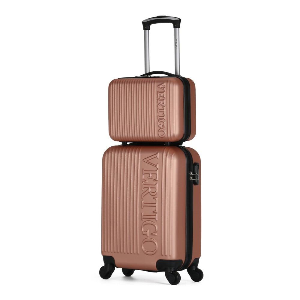 70383a9353c5e ... Sada 2 ružových cestovných kufrov na kolieskach VERTIGO Valises Cabine  & Vanity Case ...