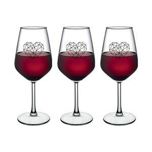 Sada 3 pohárov na víno Vivas Polygonal Heart, 345 cm