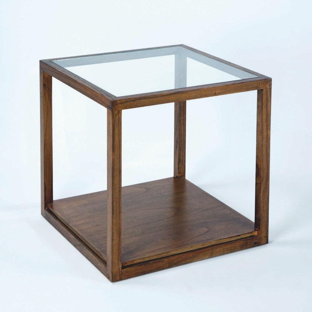 Odkladací stôl z lakovaného dreva Thai Natura Delirium, 60 × 60 cm