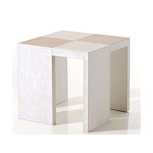 Koženkový odkladací stolík Table Side White