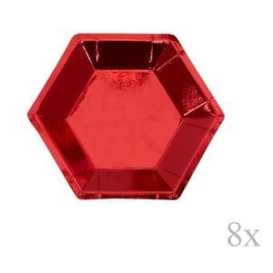 Sada 8 červených papierových tácok Neviti Red & White Dots, ⌀ 12,5 cm
