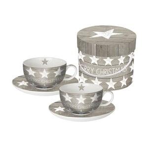 Sada 2 porcelánových hrnčekov na cappuccino s vianočným motívom v darčekovom balení PPD Merry Christmas Stars, 20 0ml