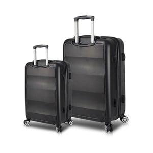 Sada 2 čiernych cestovných kufrov na kolieskach s USB porty My Valice LASSO Cabin & Large