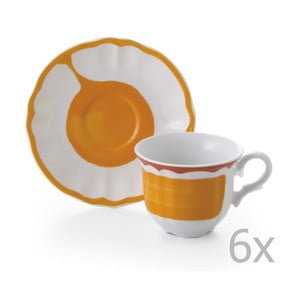 Sada 6 hrnčekov a 6 tanierikov Giotto Orange