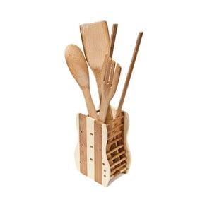 Set 5 kuchynských nástrojov z bambusu so stojanom Utilinox