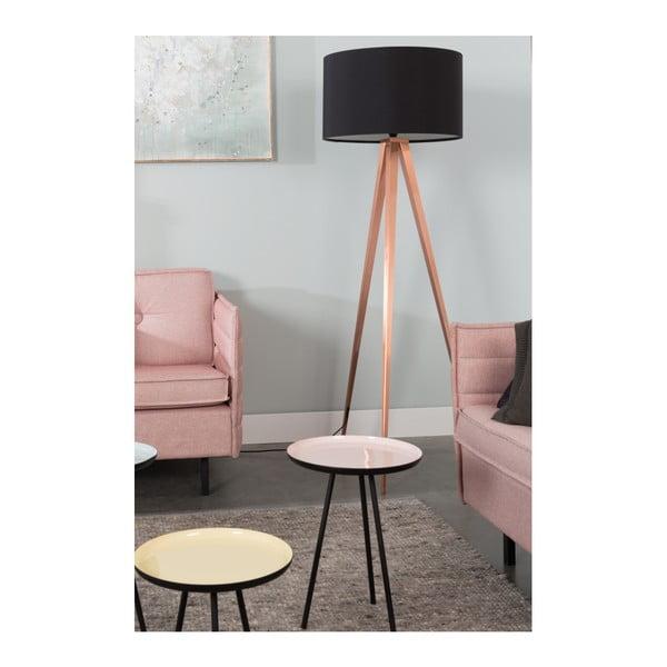 Čierna stojacia lampa s nohami v medenej farbe Zuiver Tripod