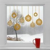 Elektrostatické vianočné samolepky Zlaté dekorácie