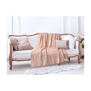 Lososovoružová bavlnená deka Crochet, 130×170 cm