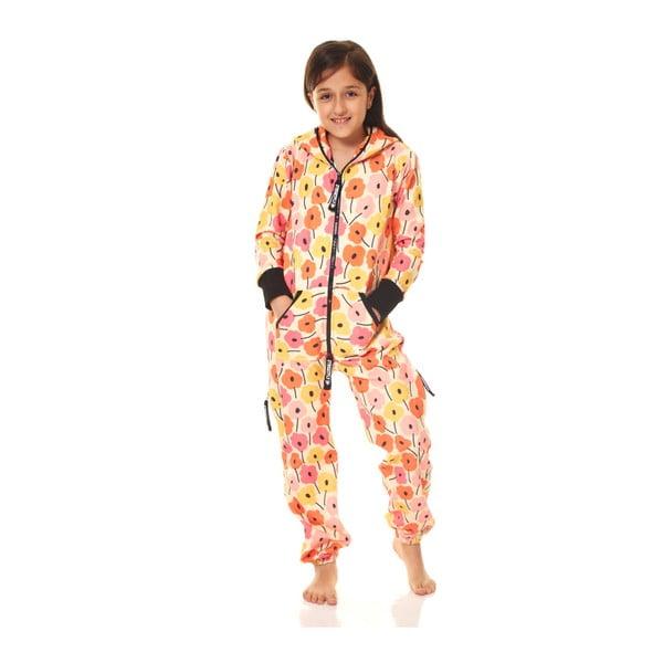 Oranžový detský domáci overal Streetfly, pre deti 10-11 rokov