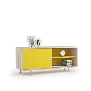 TV komoda v dekore brestového dreva so žltými dvierkami Terraneo