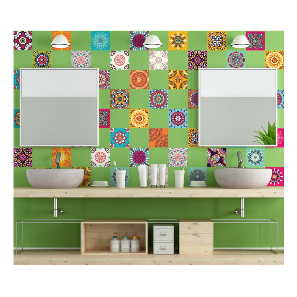 Sada 60 dekoratívnych samolepiek na stenu Ambiance Flow, 15 × 15 cm