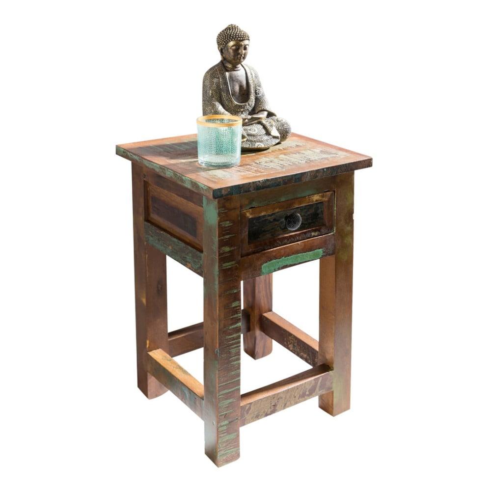 Nočný stolík so zásuvkou z recyklovaného mangového dreva Skyport KALKUTTA, výška 50 cm
