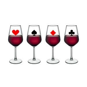 Sada 4 pohárov na víno Vivas Playing Card, 345 cm