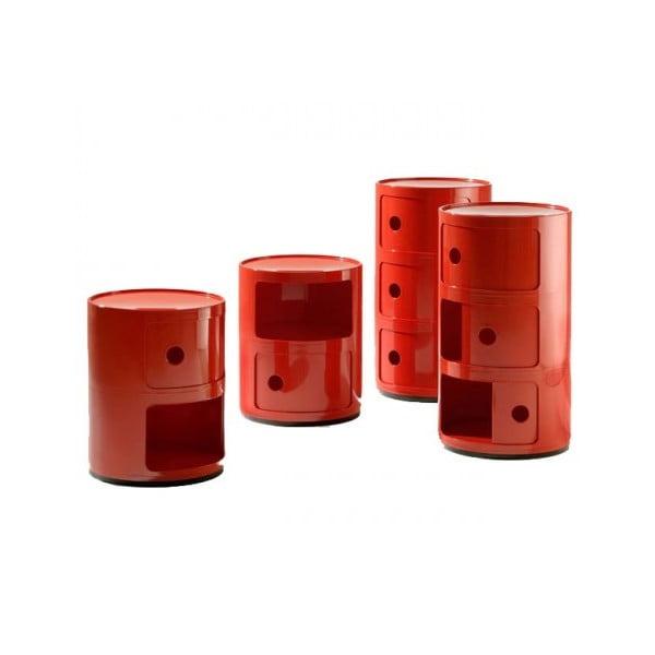 Červený kontajner s 2 zásuvkami Kartell Componibili