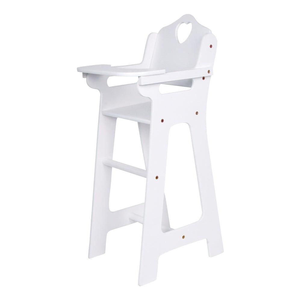 Biela drevená stolička pre bábiky Legler Dolls
