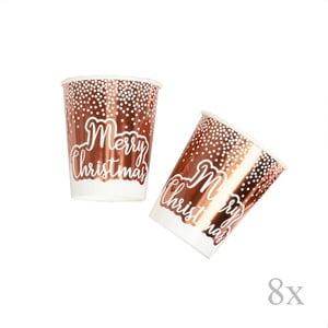 Sada 8 vianočných papierových pohárikov vo farbe ružového zlata Neviti Merry Christmas Dots, ⌀ 8 cm
