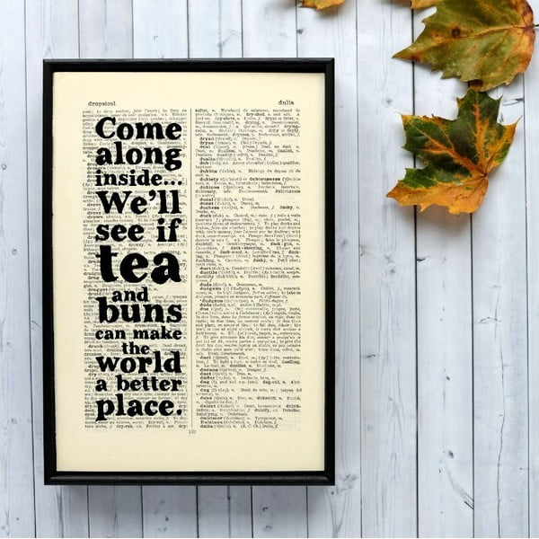 Plagát v drevenom ráme Tea and Buns