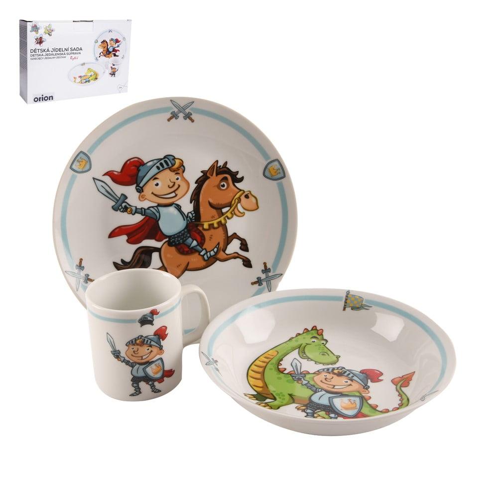Sada detského jedálenského riadu z porcelánu s motívom rytiera Orion