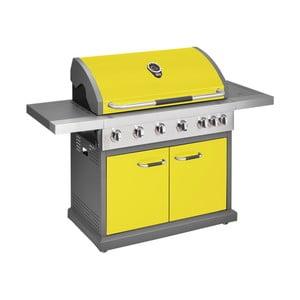 Žltý plynový gril so 6 samostatne ovládateľnými horákmi, teplomerom a bočným ohrievačom Jamie Oliver Pro