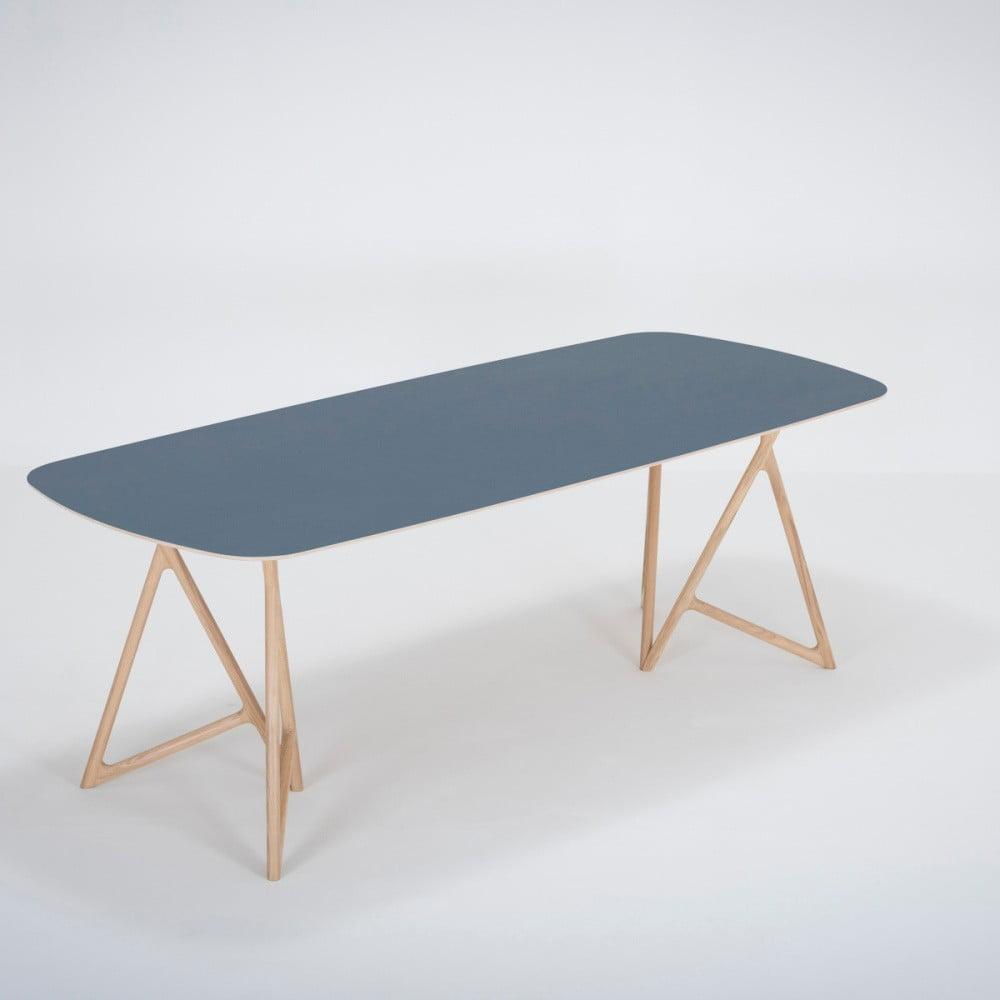 Jedálenský stôl z masívneho dubového dreva s tmavomodrou doskou Gazzda Koza, 220 × 90 cm