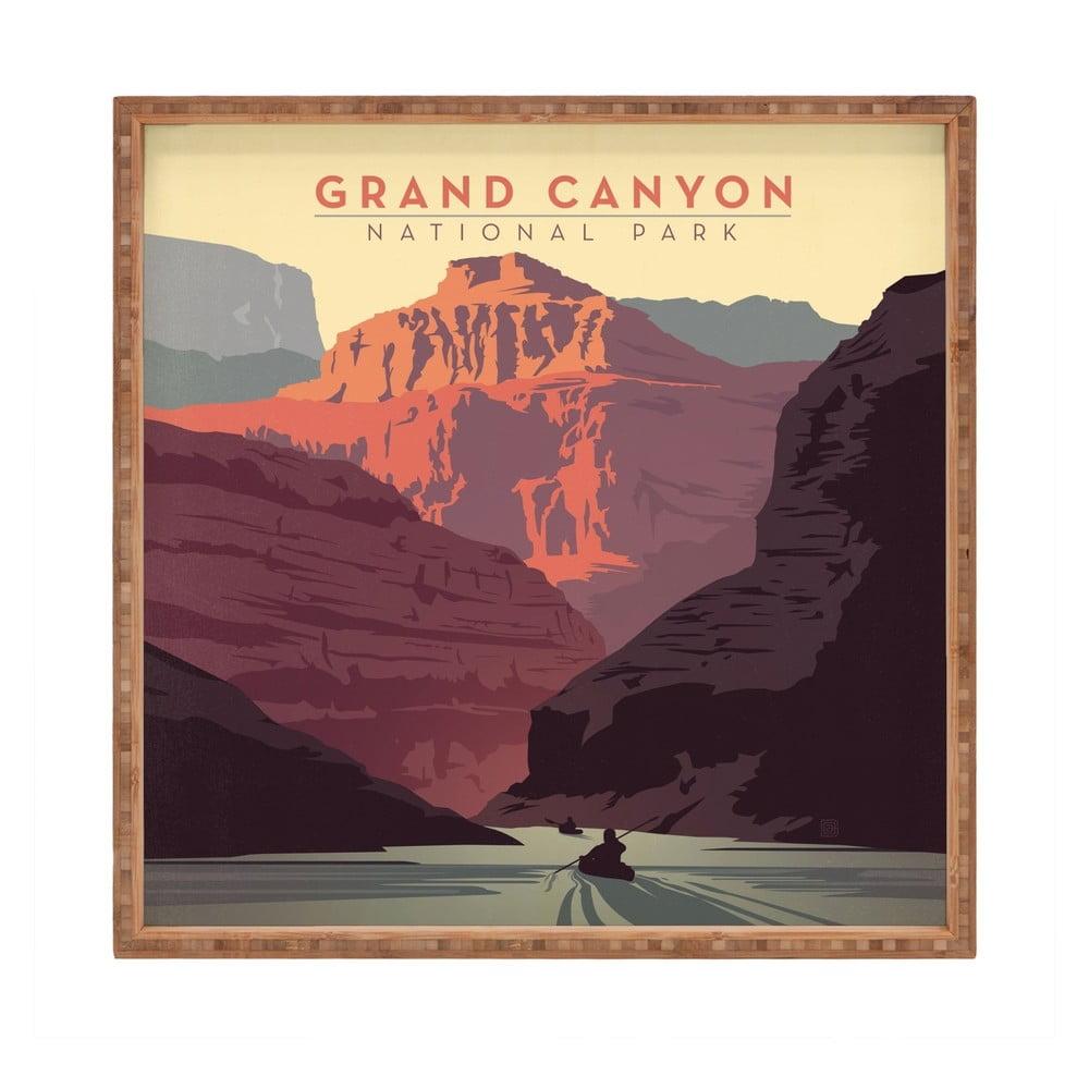 Drevený dekoratívny servírovací podnos Grand Canyon, 40 × 40 cm
