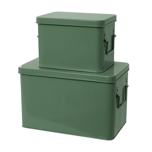 Set 2 skladovacích boxov Present Time Metal Green