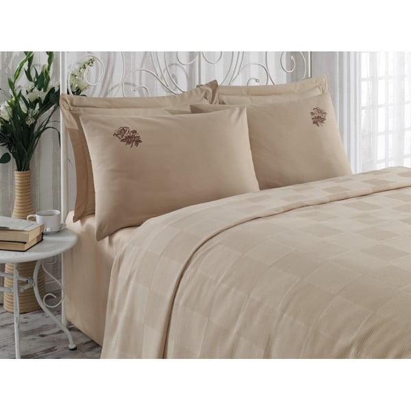 Sada prikrývky cez posteľ, plachty a 2 obliečok Gul Brown, 200x235 cm