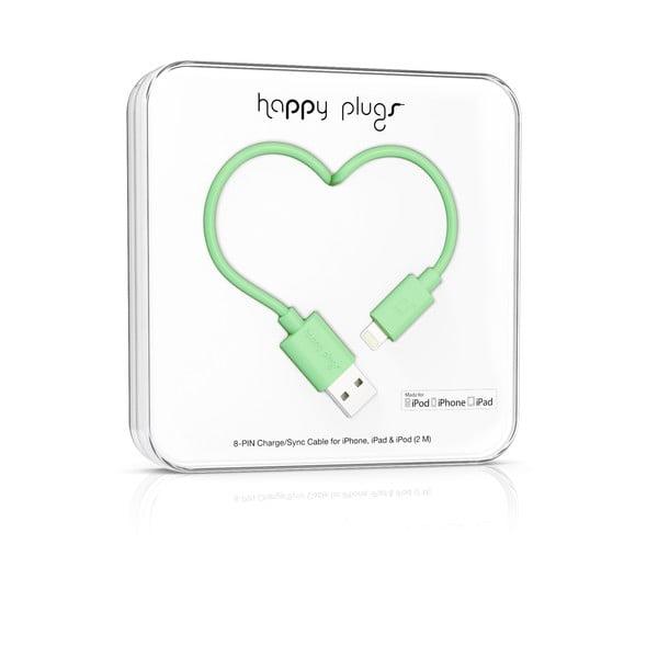 Mentolový Happy Plugs nabíjací a dátový kábel, 2 metre