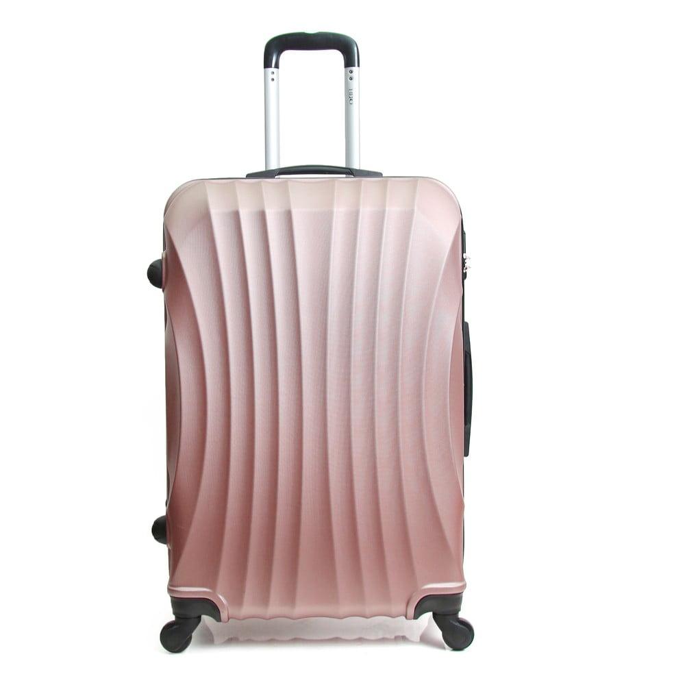 Púdrovo ružový cestovný kufor na kolieskach Hero Moscou-e, 30 l