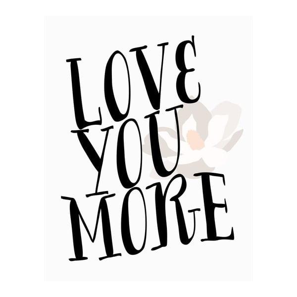 Plagát v drevenom ráme LOVE YOU, 38x28 cm