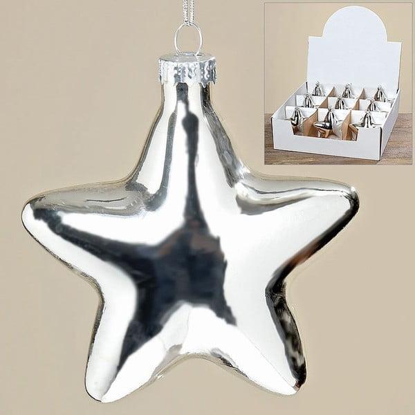 Sada 9 ks závesných dekorácií Silver Star