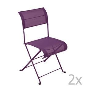 Sada 2 fialových skladacích stoličiek Fermob Dune