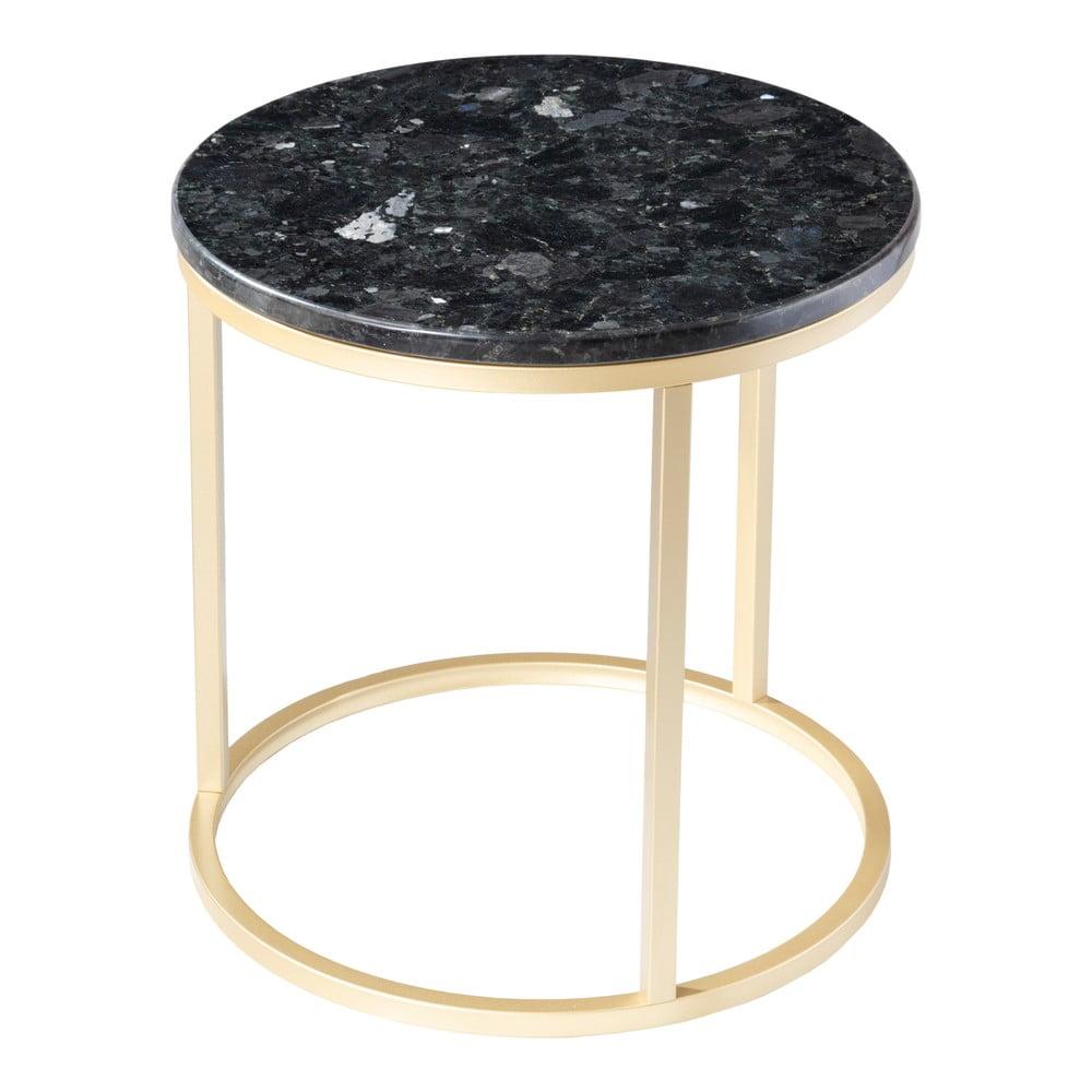 Čierny žulový stolík s podnožím v zlatej farbe RGE Crystal, ⌀ 50 cm