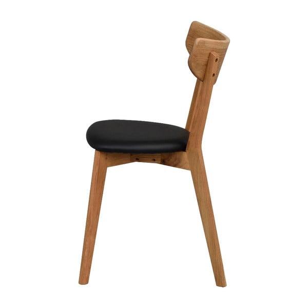 Hnedá dubová jedálenská stolička s čiernym sedadlom Rowico Ami