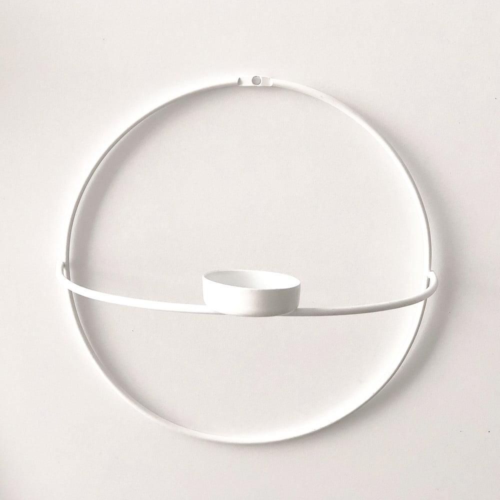 Biely nástenný svietnik Circle, ø 21 cm