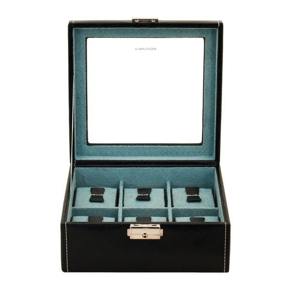 Čierny box na 6 hodiniek s priehľadným vrchnákom Friedrich Lederwaren Bond