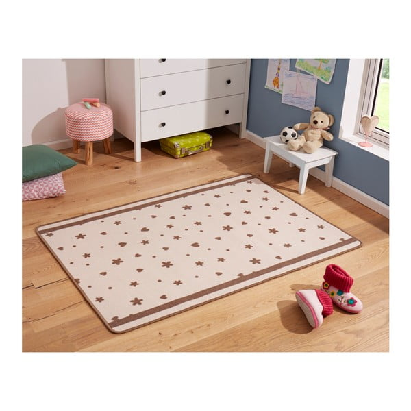 Detský béžový koberec Zala Living Stars&Hearts, 100 × 140 cm
