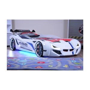 Biela detská posteľ v tvare auta s LED svetlami Fastero, 90 × 190 cm