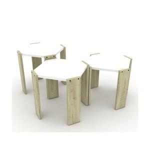 Sada 3 svetlých stohovateľných odkladacích stolíkov s bielym detailom Rafevi Hansel