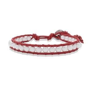 Červený náramok z pravej kože s perlami Lucie & Jade