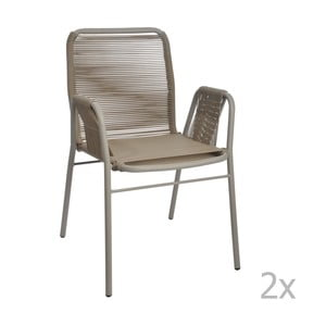 Sada 2 sivo-béžových stoličiek J-Line Elast